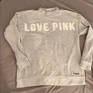 Comfy love pink light gray sweater